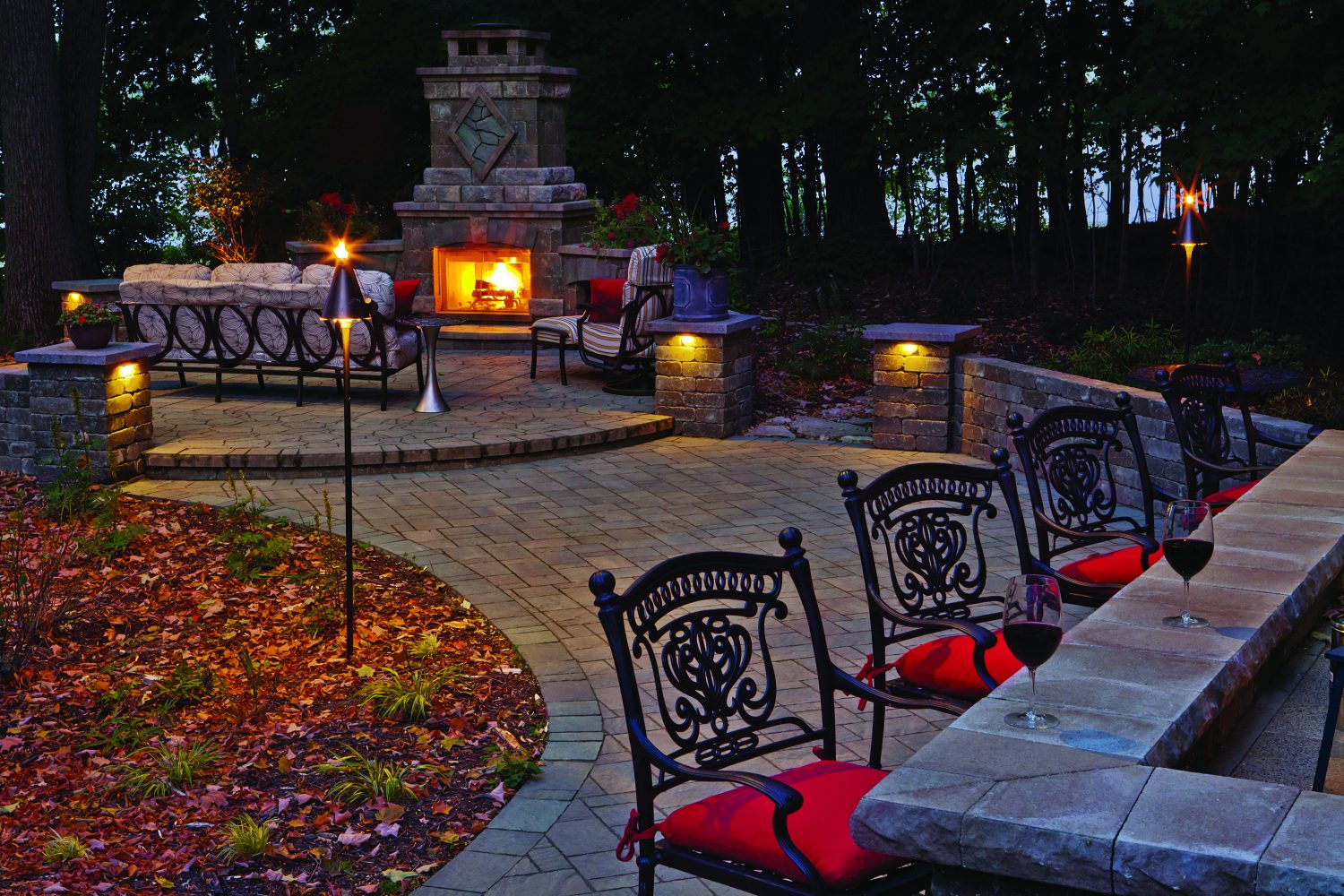 Outdoor Living Space with Fireplace and Bar