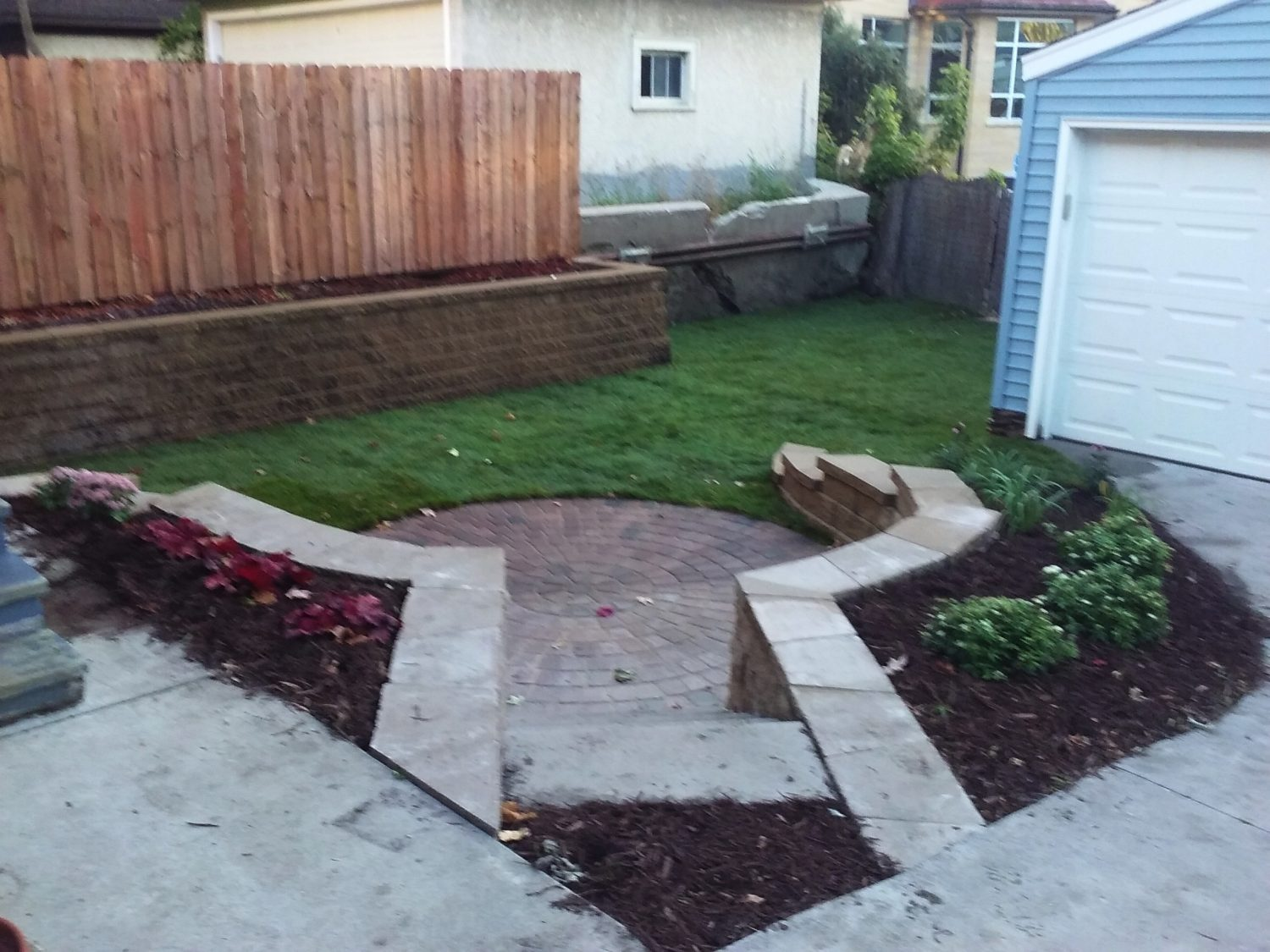 Retaining Wall with Stairs and Landing
