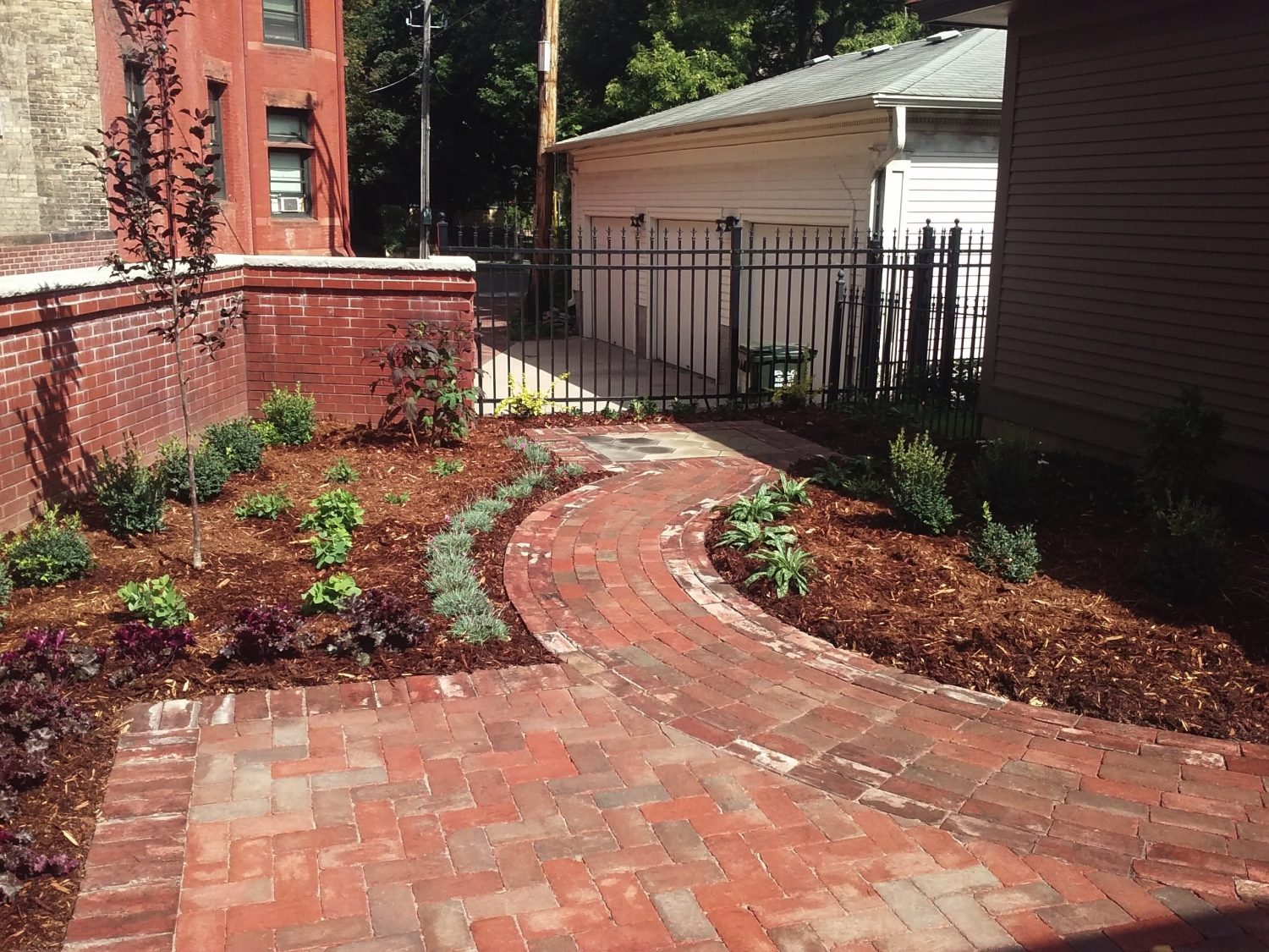 Red Brick Patio with Planting