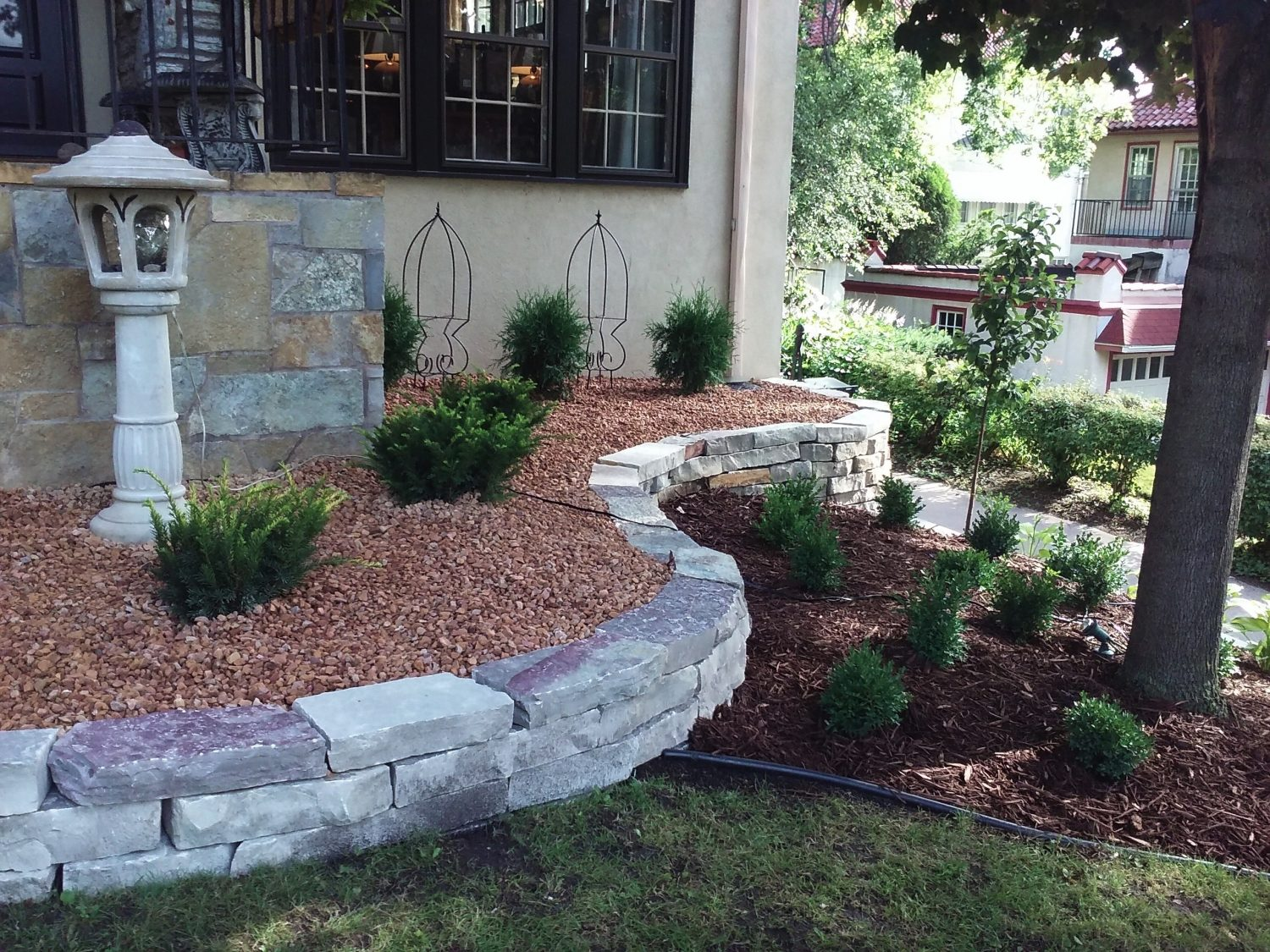 Foundation Planting with Retaining Wall