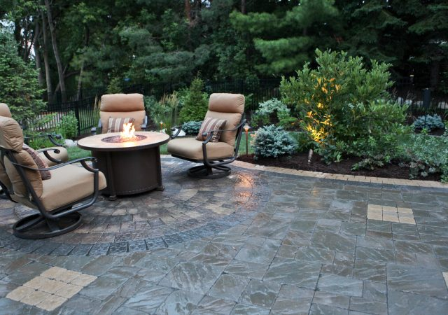 Patio with Gas Fire Pit and Landscape Lighting