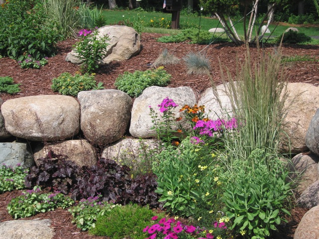 Boulder Wall with Perennials