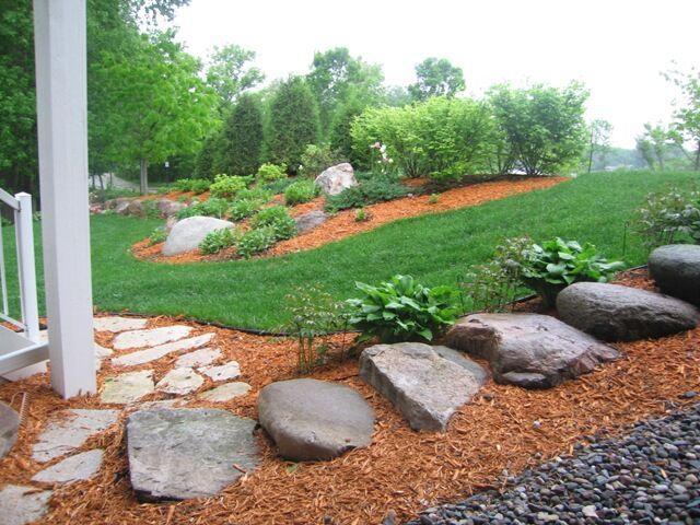 Garden Gardener Mulch Walking Path Stones