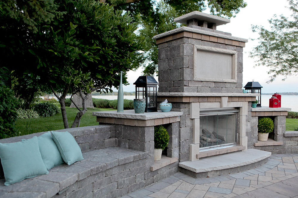 Waterfront Fireplace with Bench