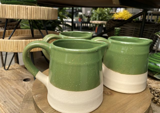 Green Two Tone Pitcher Stoneware