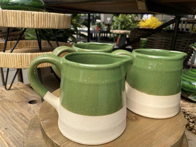 Green Two Tone Pitcher Stoneware