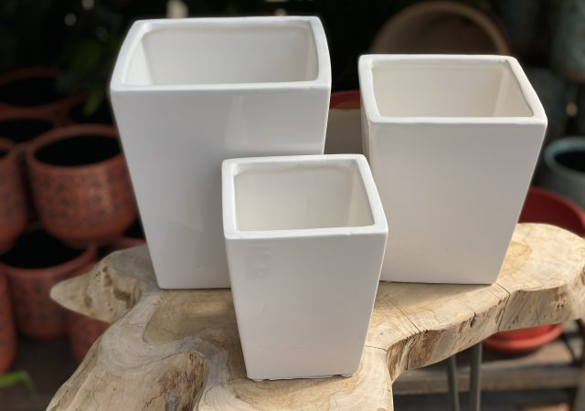 White Taper Planter